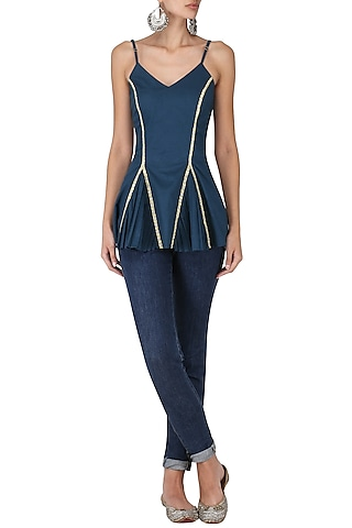 Navy Blue Embroidered Flared Top by Chandni Sahi