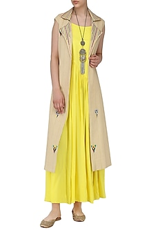 Yellow Pleated Maxi with Beige Embroidered Jacket by Chandni Sahi