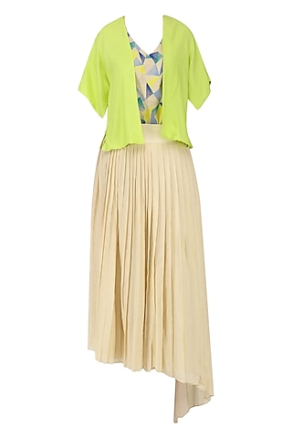 Sand Brown Pleated Skirt with Embroidered Top and Overlay Jacket by Chandni Sahi