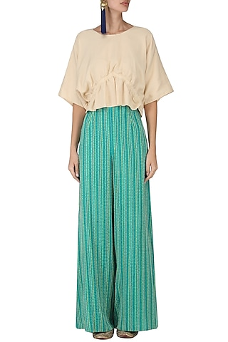 Sand Brown Ruched Top with Embroidered Palazzo Pants by Chandni Sahi