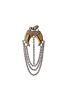 Antique Gold Finish Tiger Eye Stone Dangling Chain Brooch by Cosa Nostraa