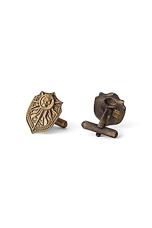 Antique Gold Finish Shield Cufflinks by Cosa Nostraa