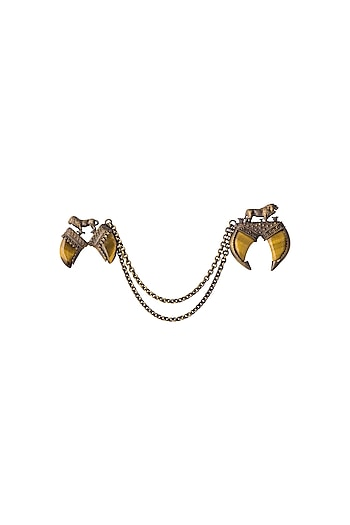 Antique Gold Finish Genuine Tiger Eye Stone Dangling Chain Brooch by Cosa Nostraa