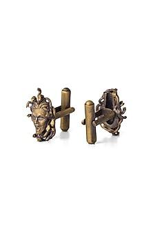 Antique Gold Finish Medusa Cufflinks by Cosa Nostraa