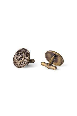 Antique Gold Finish Armour Cufflinks by Cosa Nostraa