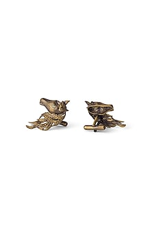 Antique Gold Finish Royal Horse Cufflinks by Cosa Nostraa