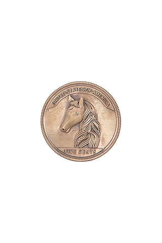 Antique Gold Finish Coin Brooch by Cosa Nostraa