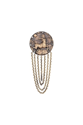 Antique Gold Finish Sagittarius Brooch by Cosa Nostraa