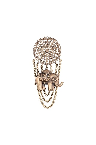 Antique Gold Finish Elephant Brooch by Cosa Nostraa