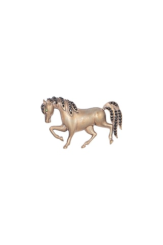 Antique Gold Finish Horse Brooch by Cosa Nostraa