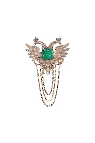 Antique Gold Finish Emerald Glass Stone Brooch by Cosa Nostraa