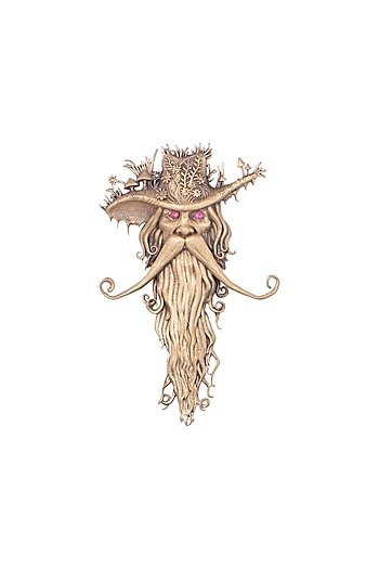 Antique Gold Finish Mystical Wizard Brooch by Cosa Nostraa