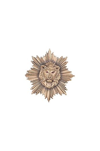 Antique Gold Finish Lion Head Brooch by Cosa Nostraa