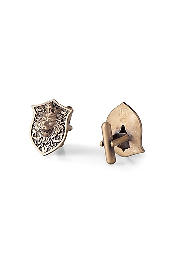 Antique Gold Finish Lion Head Cufflinks by Cosa Nostraa