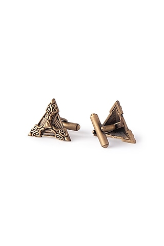 Antique Gold Finish Shields Cufflinks by Cosa Nostraa