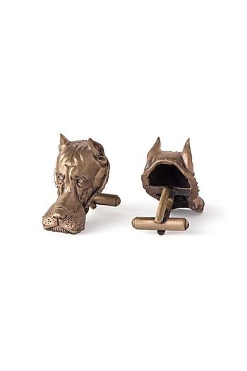 Antique Gold Finish British Bulldog Cufflinks by Cosa Nostraa