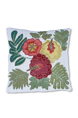 Multi Colored Canvas Cotton & Satin Handcrafted Beaded Cushion by Coco bee