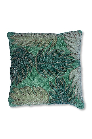 Multi Colored Canvas Cotton & Satin Cushion by Coco bee