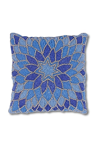 Blue Canvas Cotton & Satin Handcrafted Cushion by Coco bee