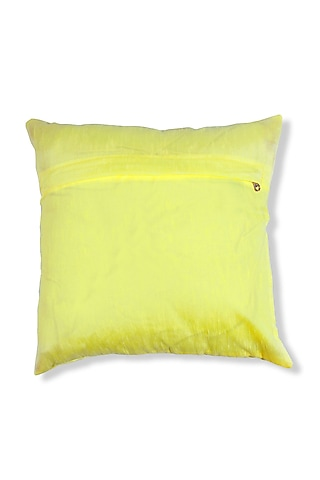 Yellow Art Silk Embroidered Cushion by Coco bee