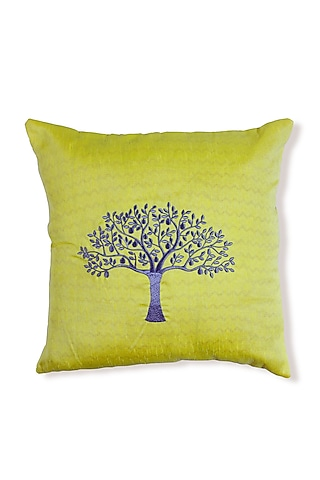 Yellow Embroidered Art Silk Cushion by Coco bee