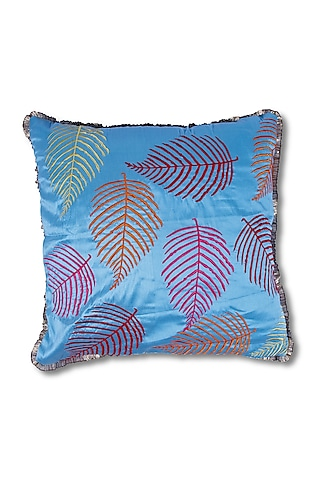 Blue Embroidered Art Silk Cushion by Coco bee