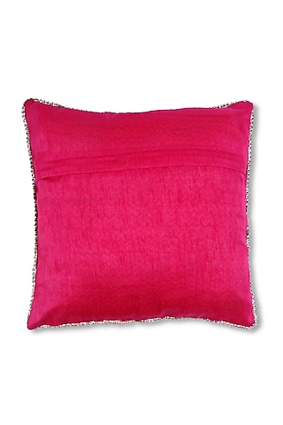 Pink Art Silk Embroidered Cushion by Coco bee