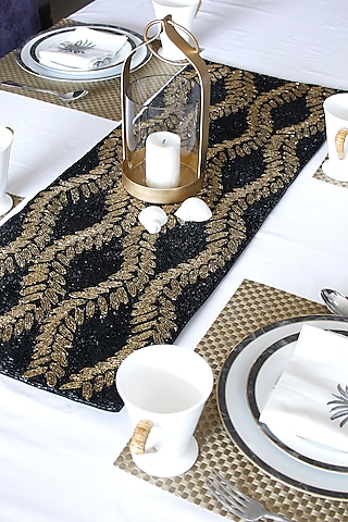 Black Canvas Handcrafted Beaded Table Runner by Coco bee