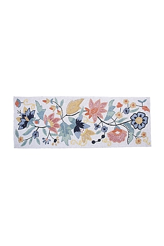 White Canvas Handcrafted Beaded Table Runner by Coco bee