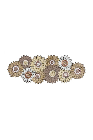 Cream Canvas Handcrafted Beaded Table Runner by Coco bee