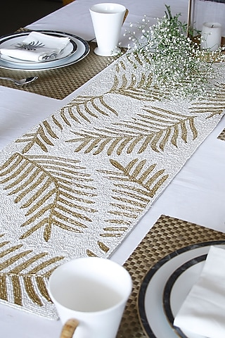 White Canvas Handcrafted Table Runner by Coco bee