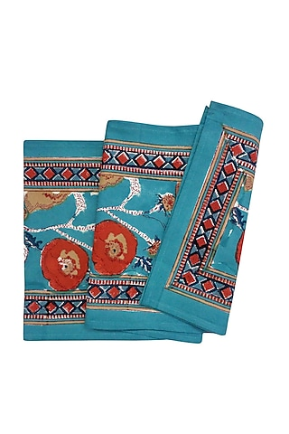 Teal Cotton Hand Block Printed Table Runner by Coco bee