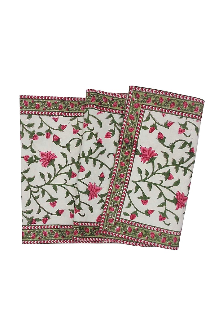Cream Cotton Hand Block Printed Table Runner by Coco bee