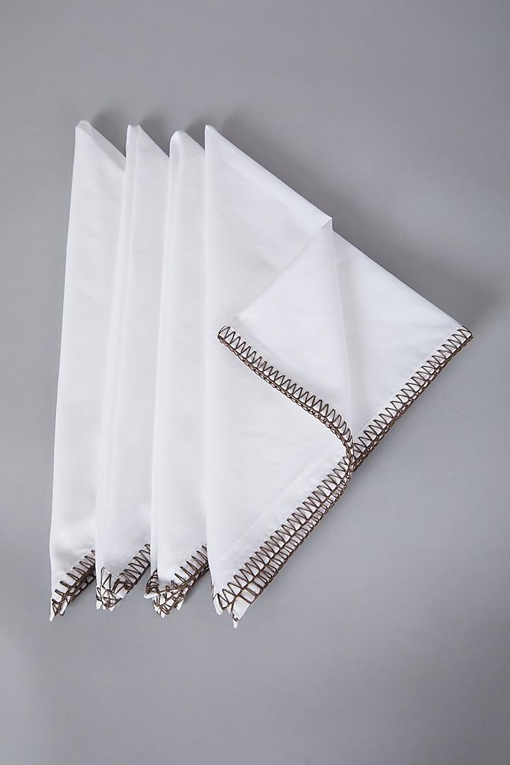 Pristine White Dinner Napkins ( Set of 4) by Conscious Co