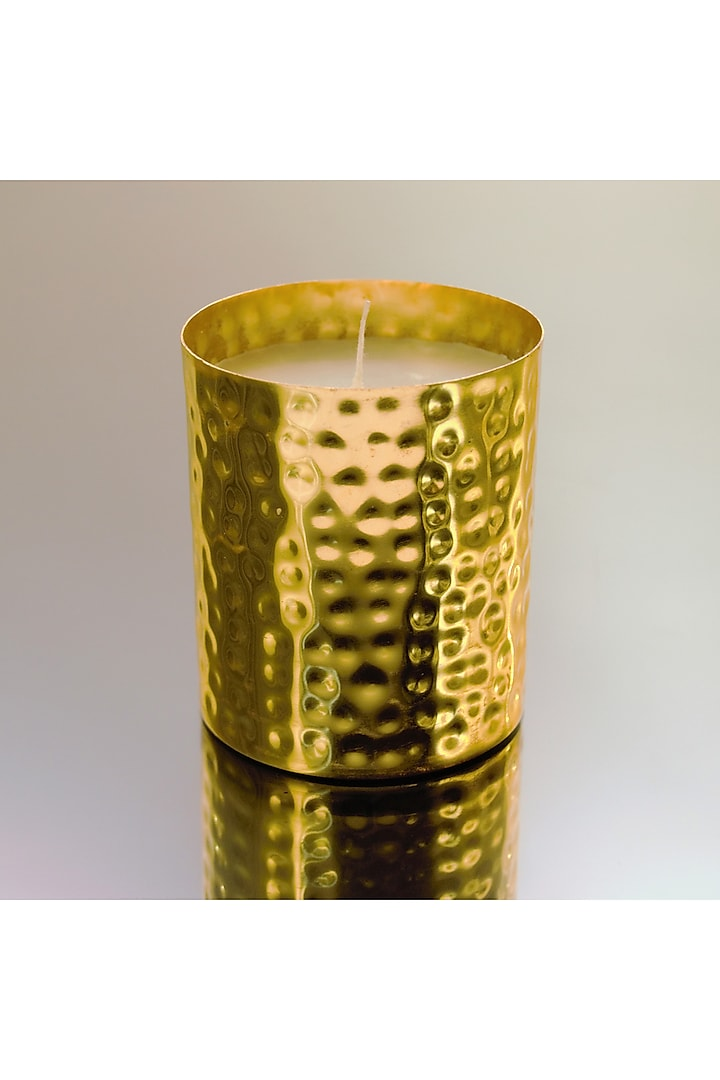 Gold Hammered Votive With Scented Candle by Conscious Co