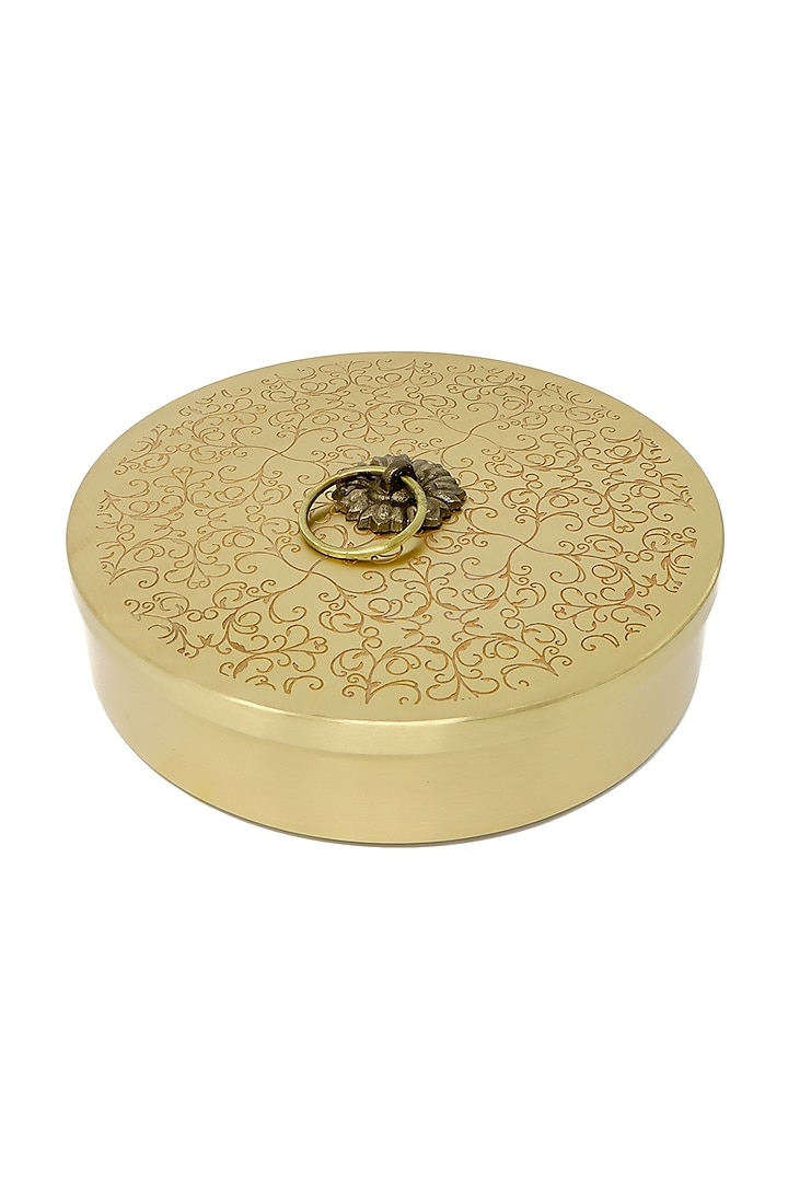 Gold Roti Box With Intricate Design by Conscious Co