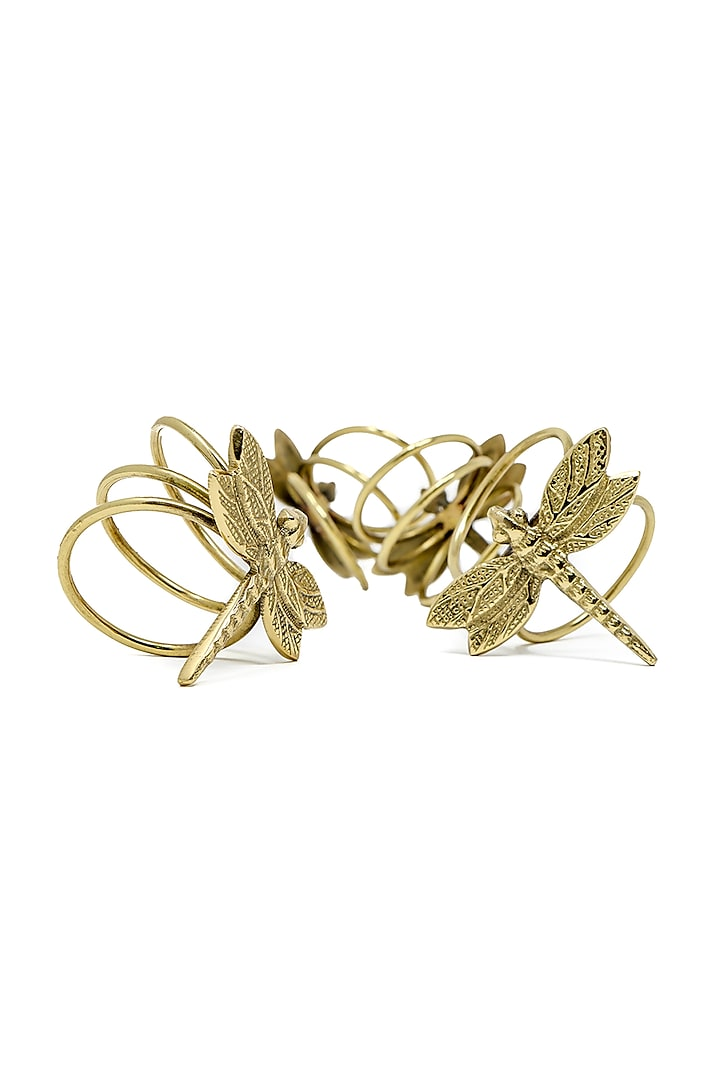 Antique Gold Dragonfly Napkin Rings (Set of 4) by Conscious Co