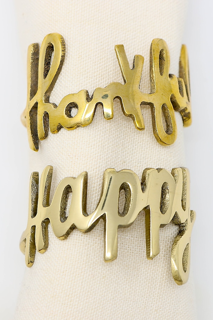 Dull Gold Elegant Napkin Rings (Set of 4) by Conscious Co