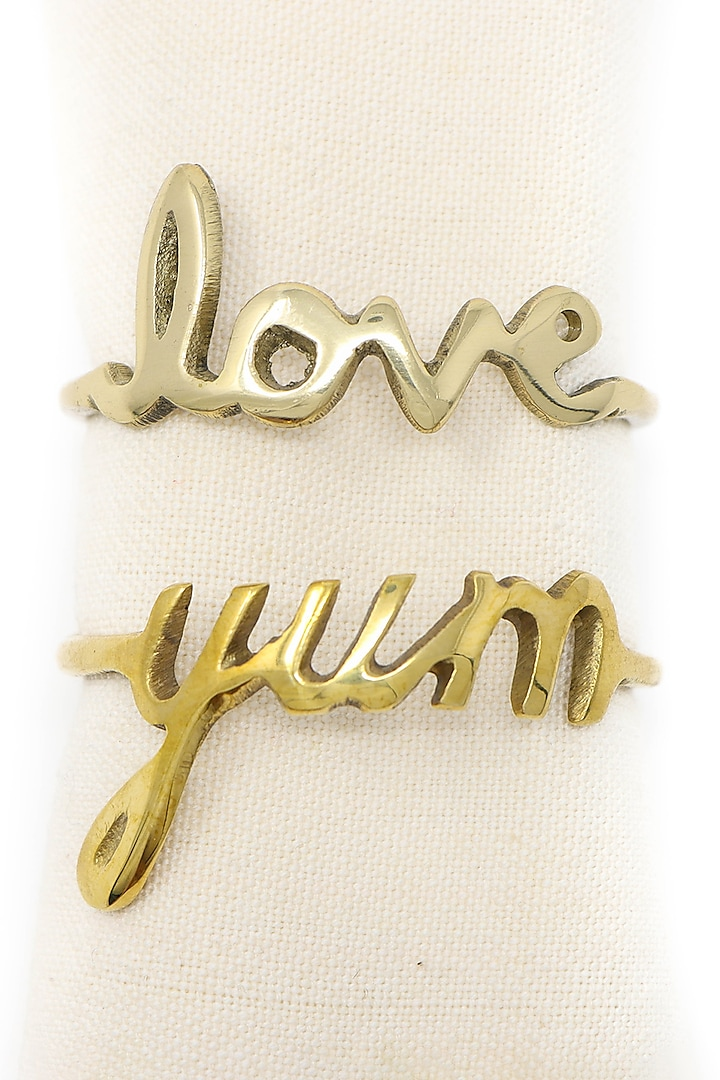 Dull Gold Napkin Rings (Set of 4) by Conscious Co