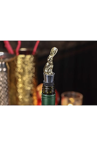 Dull Gold Woodland Wine Stoppers (Set of 3) by Conscious Co