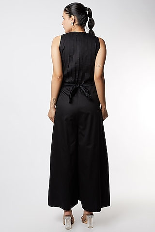 Black Pleated Jumpsuit With Belt by Corpora Studio