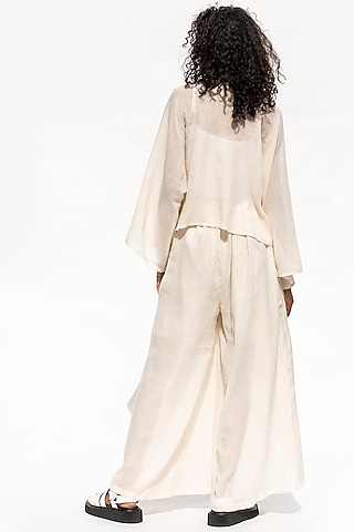 White Sheer Shirt With Pants by Corpora Studio
