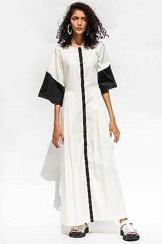 White Paneled & Pleated Dress by Corpora Studio