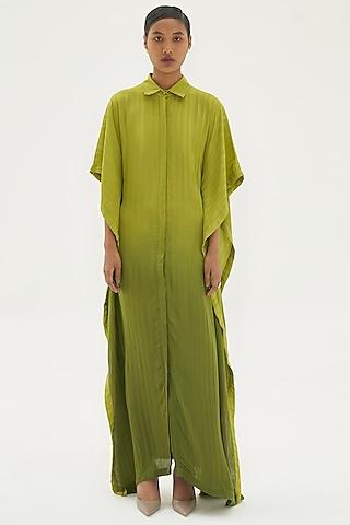Green Ombre Viscose Silk Kaftan by Corpora Studio