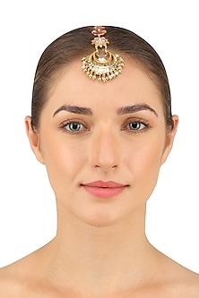 Gold Plated Navratna Maang Tikka by Suneet Varma X Crystals From Swarovski