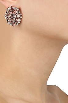 Gold Plated Bloom Stud Earrings by Suneet Varma X Crystals From Swarovski
