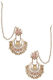 Gold Plated Navratna Chandbali Earrings by Suneet Varma X Crystals From Swarovski