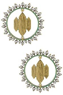 Ranas Of Kutch Full Moon Ear Studs by JJ Valaya X Crystals From Swarovski
