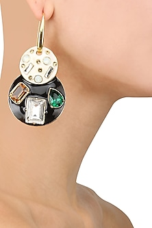 Gold Plated Emerald Jazz Earrings by Shivan & Narresh X Crystals From Swarovski