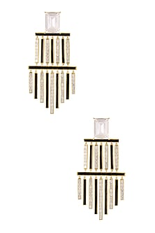 Gold Plated Monochrome Chandelier Earrings by Shivan & Narresh X Crystals From Swarovski